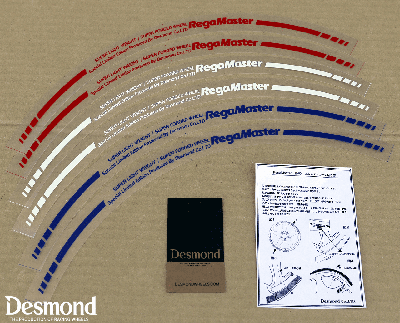 """Desmond Regamaster EVO and II Lip Decal 16"""" Single (1 Decal) Red, White or Blue"""