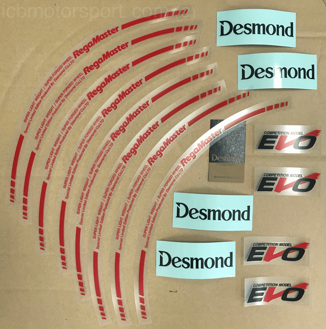 "Desmond Regamaster EVO and II Spoke and Lip Decals 18"" Set (12 Decals) Red"