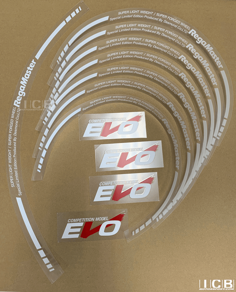 "Desmond Regamaster EVO and II Spoke and Lip decals 18"" Set (12 decals) White"