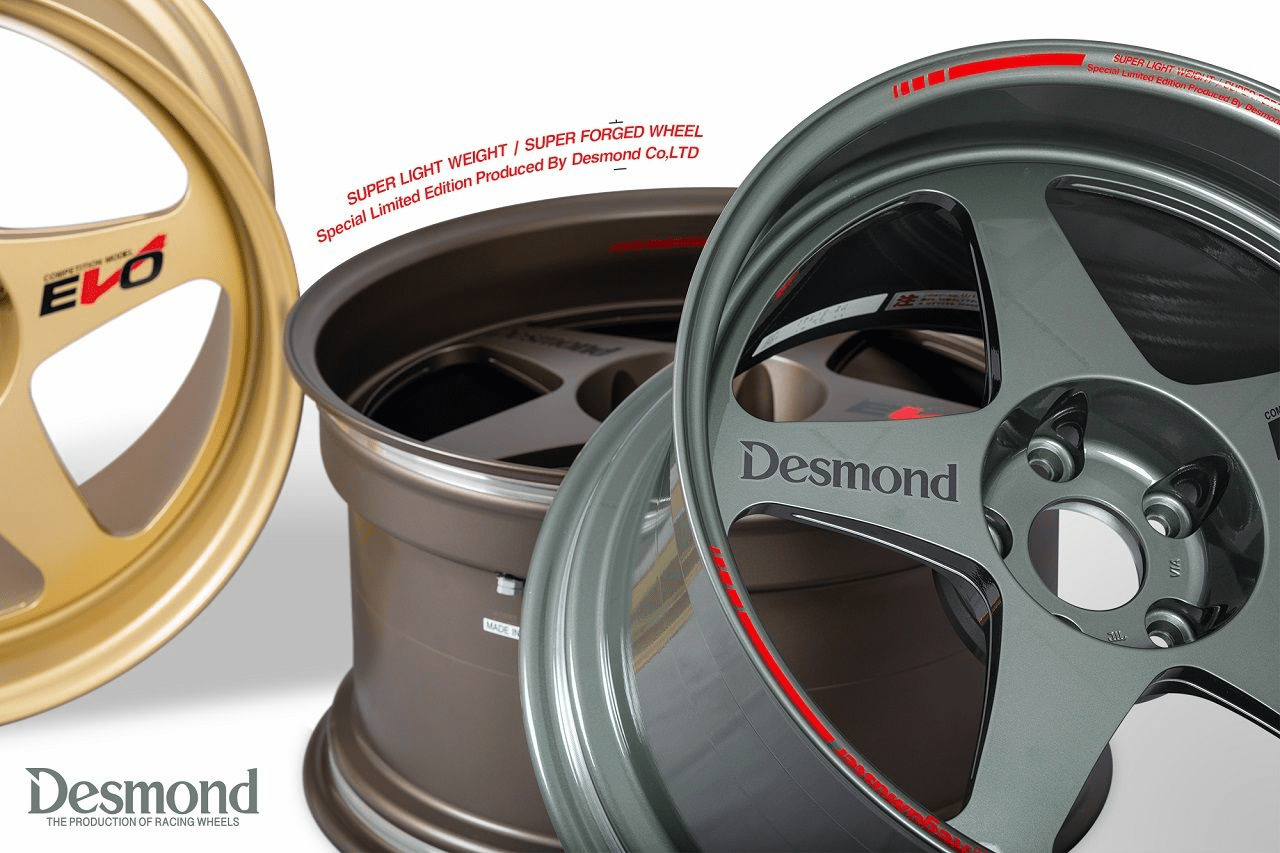 Desmond Regamaster EVO II 18X10.5 5X114.3 +15 Offset Gloss Gunmetal Black Gold New Almighty Grey Flat Bronze Gunmetal Gold