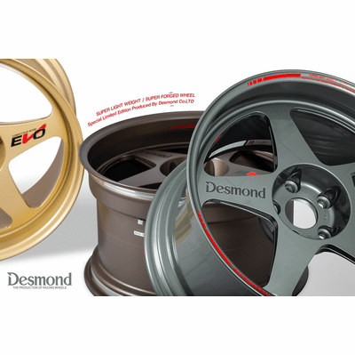 Desmond Regamaster EVO II 18X10.5 5X114.3 +22 Offset Gloss Gunmetal Black Gold New Almighty Grey Flat Bronze Gunmetal Gold