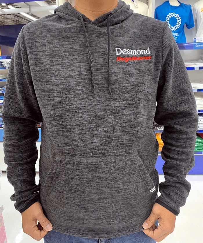 "Desmond Regamaster Polar Heather Fleece Hoodie 4"" Embroidered Logos White and Red"