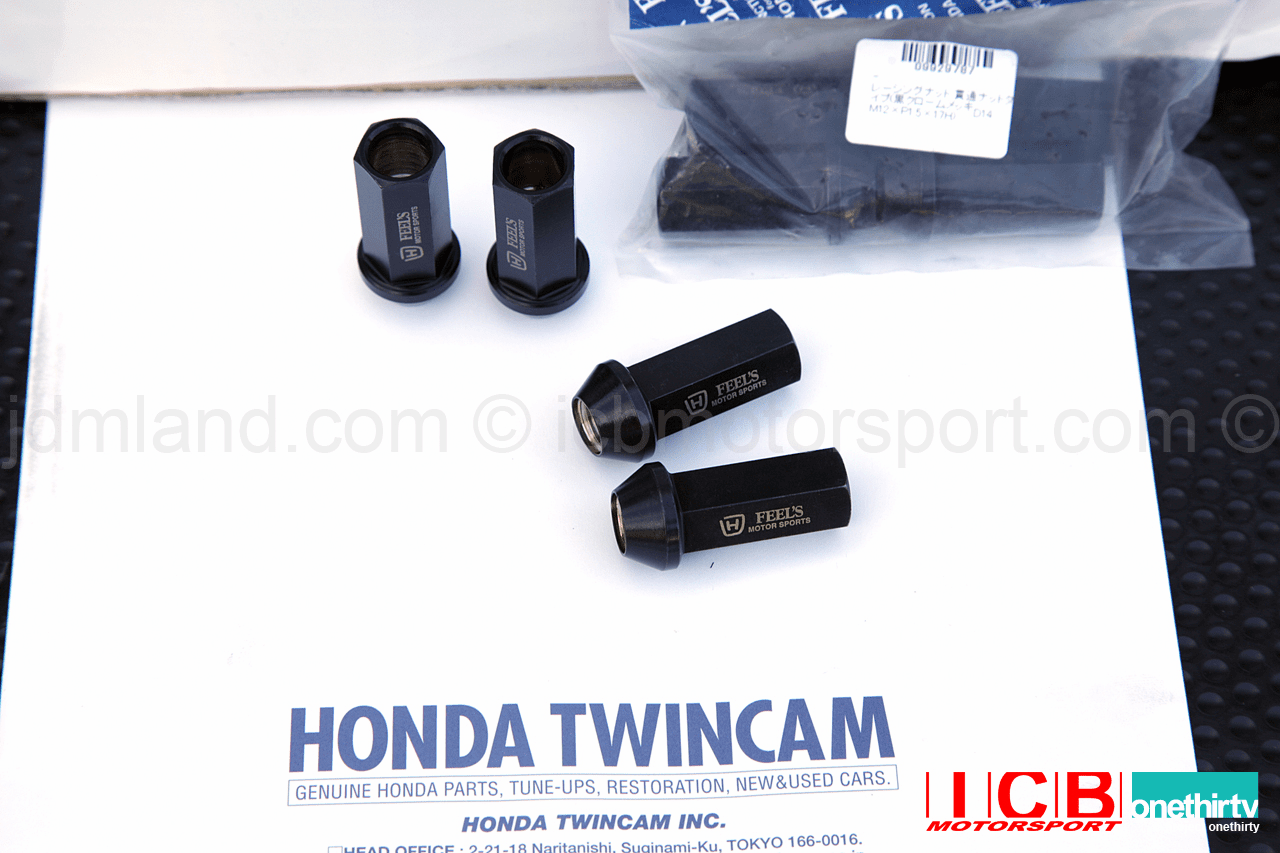 Feel's Honda TwinCam Racing Lug Nut (Black Chrome-Plated) Open Ended 12X1.50mm