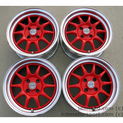 Gab Sports (RED) 15x6.5 +32  4X100 Complete with Center Caps