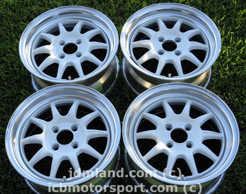 Gab Sports White with Polished Lip 15x7 4X100 +35 - SOLD!