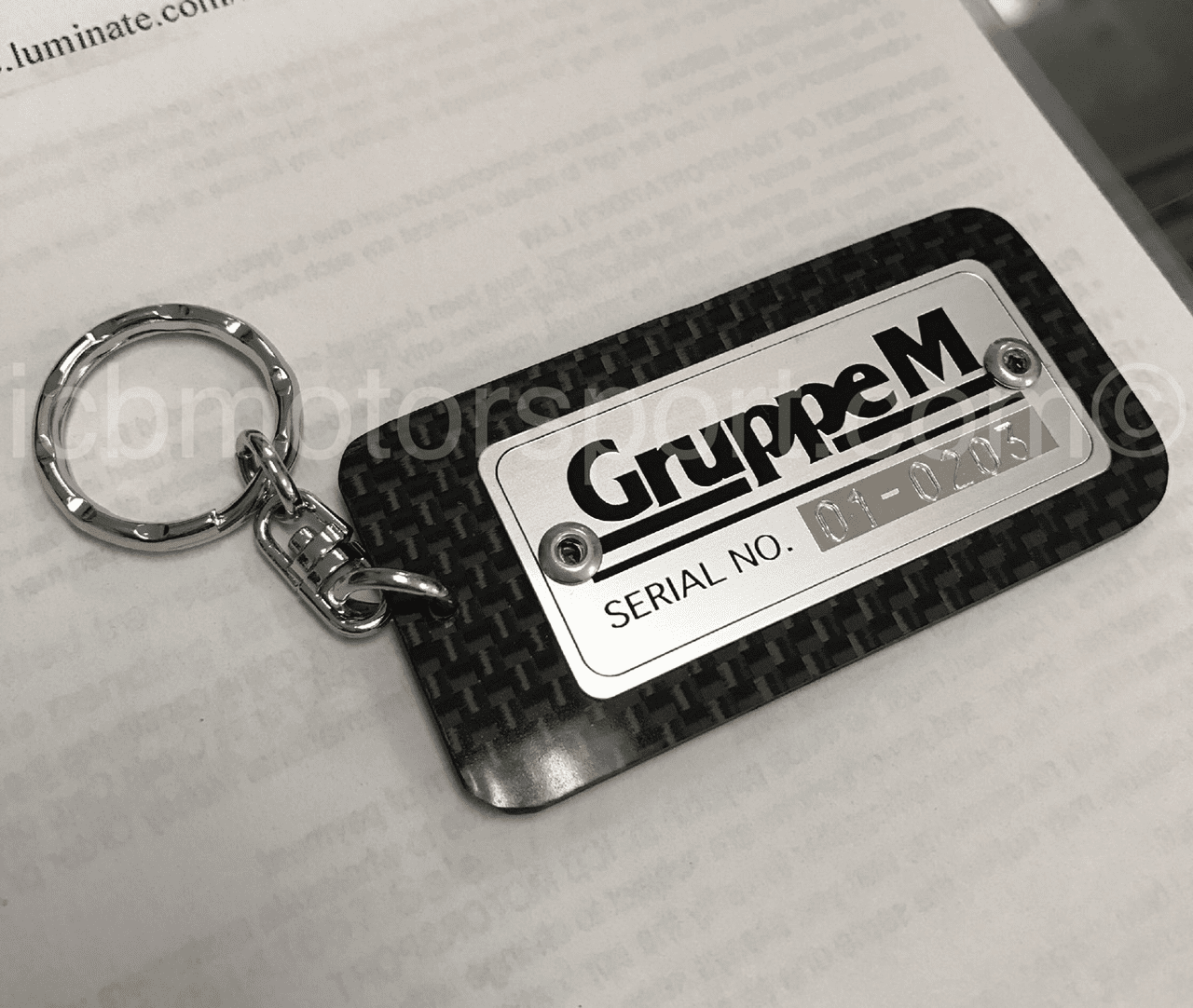 GruppeM Carbon Fiber Key Chain with Metal Riveted Badge