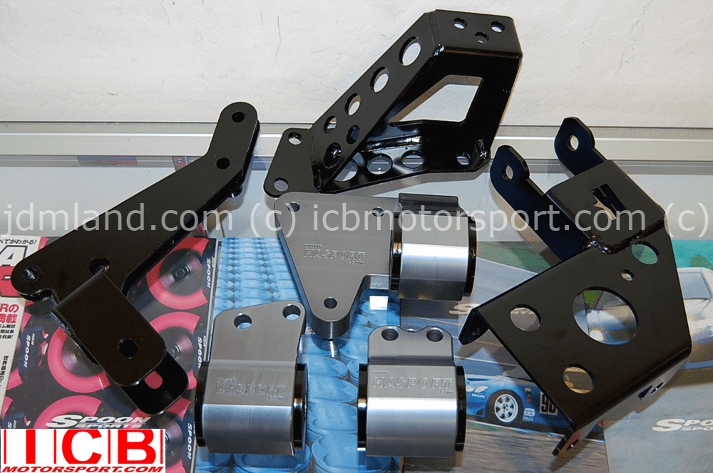 Hasport EGK1 Mount Kit - K20A K Series Civic EG6 Del Sol EG2 Integra DC2 - GUNMETAL