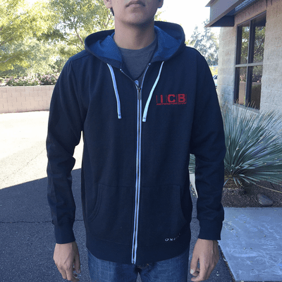 "ICB MOTORSPORT Full ZIP-UP Fleece Lined Hoodie 4"" Embroidered Logo by O'Neill Dark Blue Free Shipping"