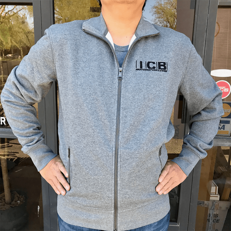 "ICB MOTORSPORT Full ZIP-UP Sweatshirt 4"" Embroidered Logo Gray Free Shipping"