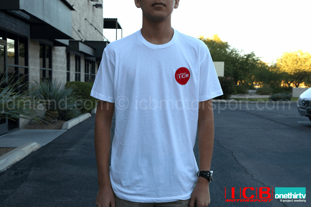 "ICB MOTORSPORT ""I SUPPORT ICB"" V3 White T-Shirt  Free Shipping"