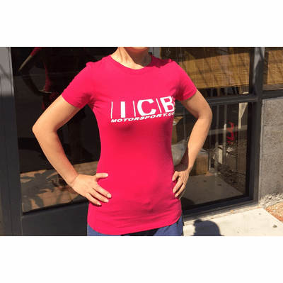 "ICB MOTORSPORT ""Purveyor of Fine Japanese Made Parts"" V2 Women's T-Shirt Raspberry Free Shipping"