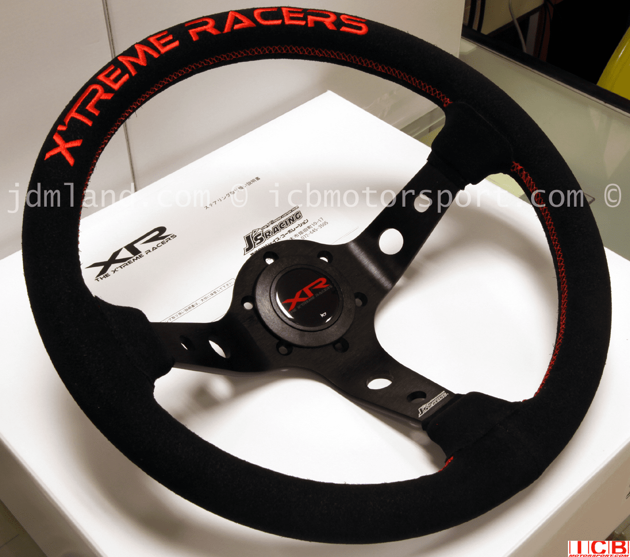 J's Racing Xtreme Racers Type D 330mm Deep Dished Suede Steering Wheel