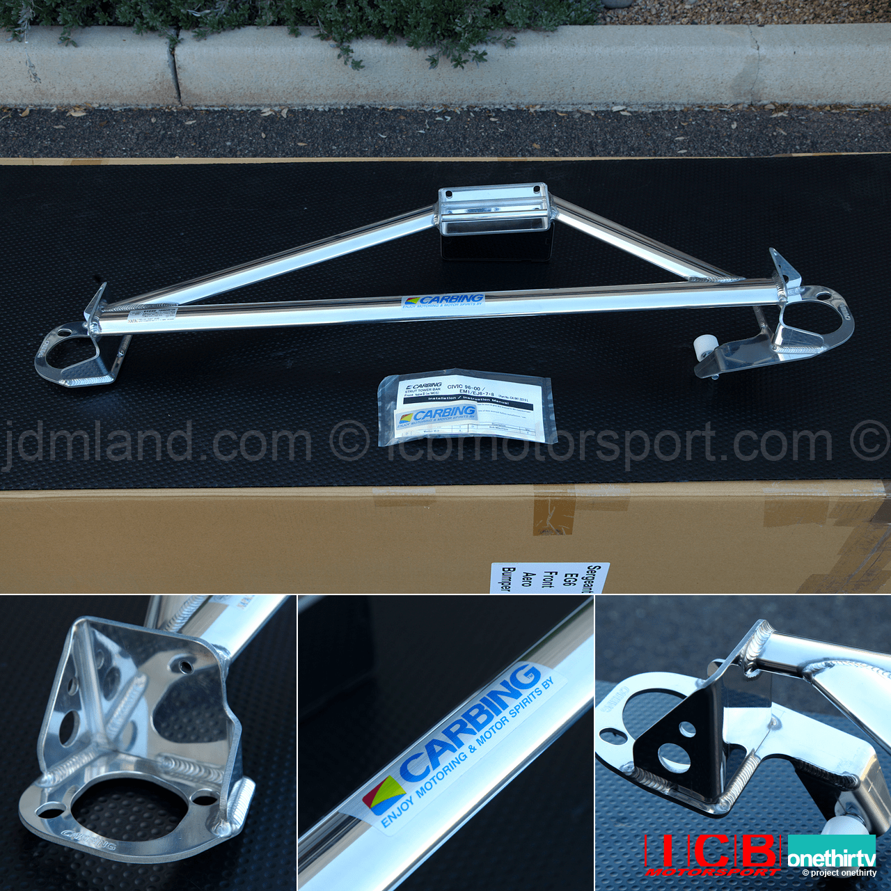 JDM Carbing Strut Tower Bar Type II With Master Cylinder Stopper MCS Honda Civic EK9 EM1 Left Hand Drive Pre-Order