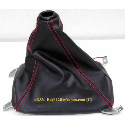 For Civic del Sol Integra JDM Black Suede Shift Gear Boot Red Stitch