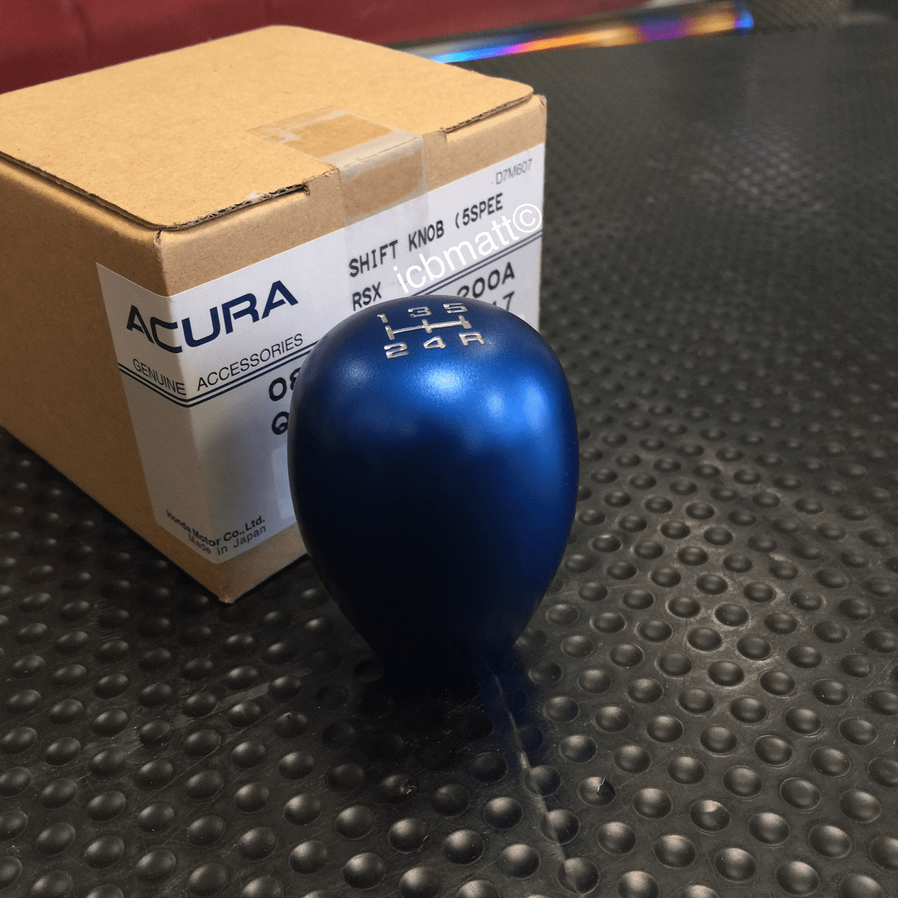 JDM USDM Honda Aluminum 5 Speed Shift Knob with Locking Nut Anodized Blue