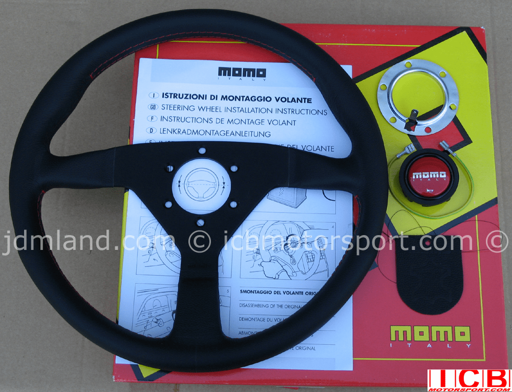 MOMO Monte Carlo Steering Wheel Leather Red Stiching 320mm/350mm