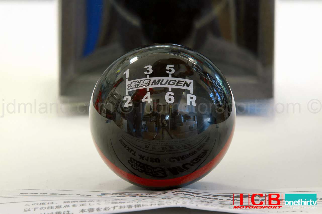 Mugen Carbon Fiber Spherical Shift Knob 6MT with Red Stripe 54102-XLT-K1S0-RD