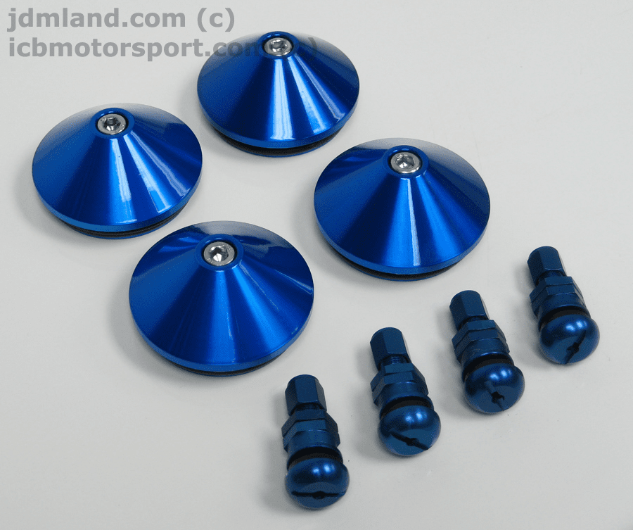 Mugen MF8 MF10 Center Caps (Not In Stock) Valve Stems Only Blue (Set of 4)