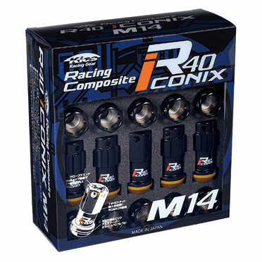 Project Kics R40 ICONIX M14 Lug Nuts & Locks - 14x1.5 In Black (Capless) - FREE SHIPPING