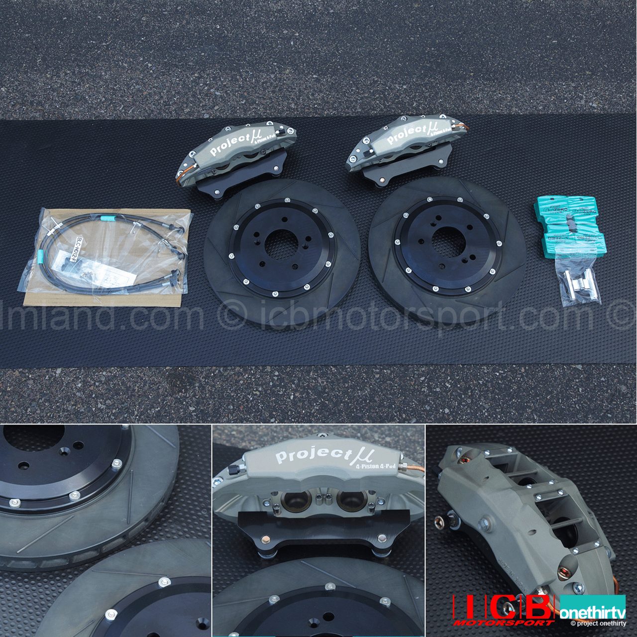 Project Mu Forged Caliper 4 Pot Slim Brake Kit 332mm Rotor Acura Integra DC2 Type R Color Tufram
