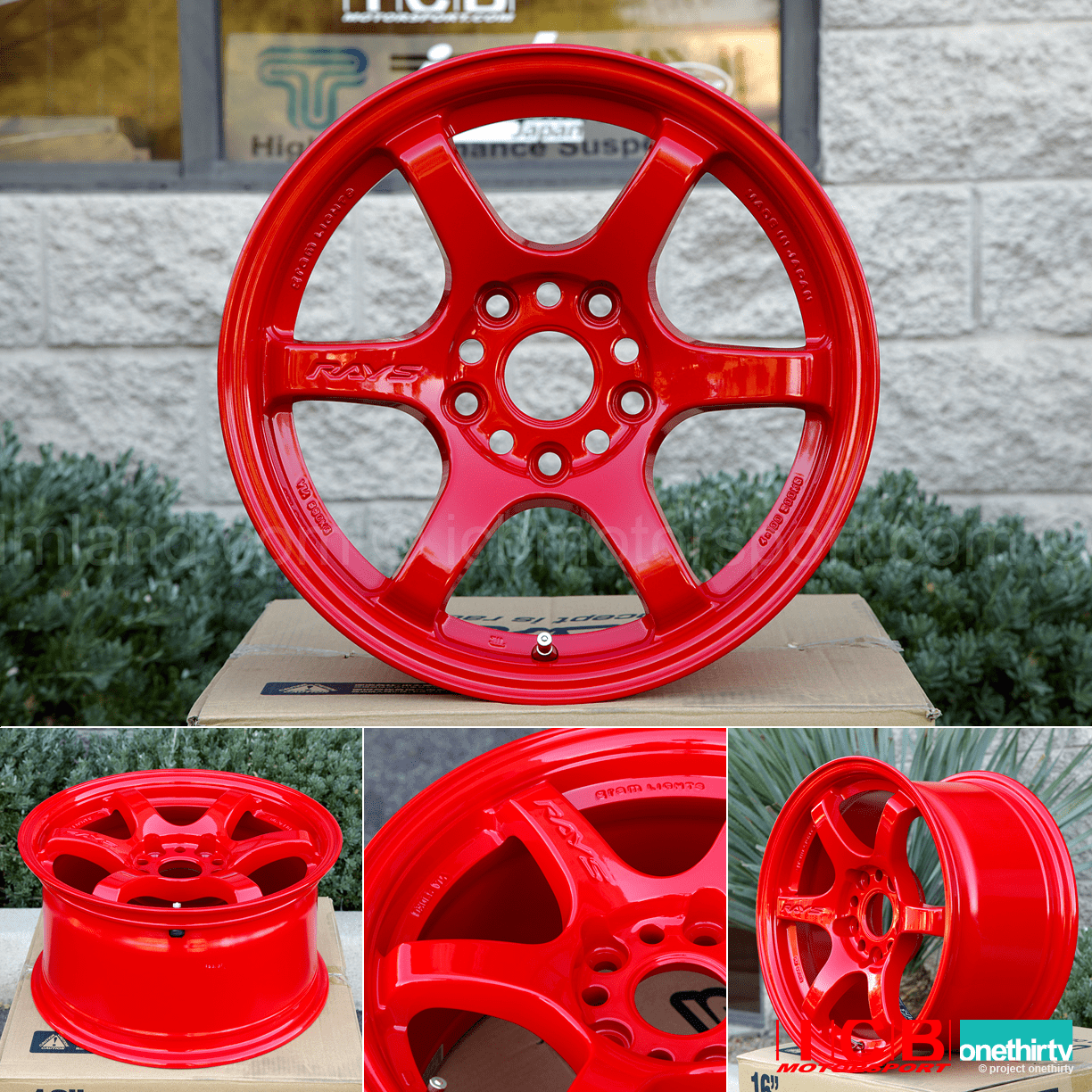 Rays Gram Lights 57DR 15X8 5X1143 or 4X100 +35 Offset Red Concave Face