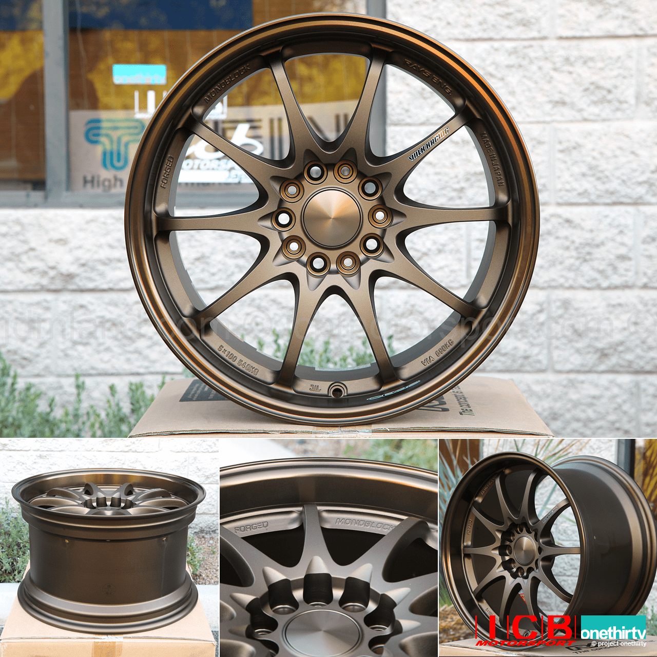 Rays Volk Racing CE28N Bronze Wheels Set 5X114.3 17X10 +50 Offset Concave Face BBK