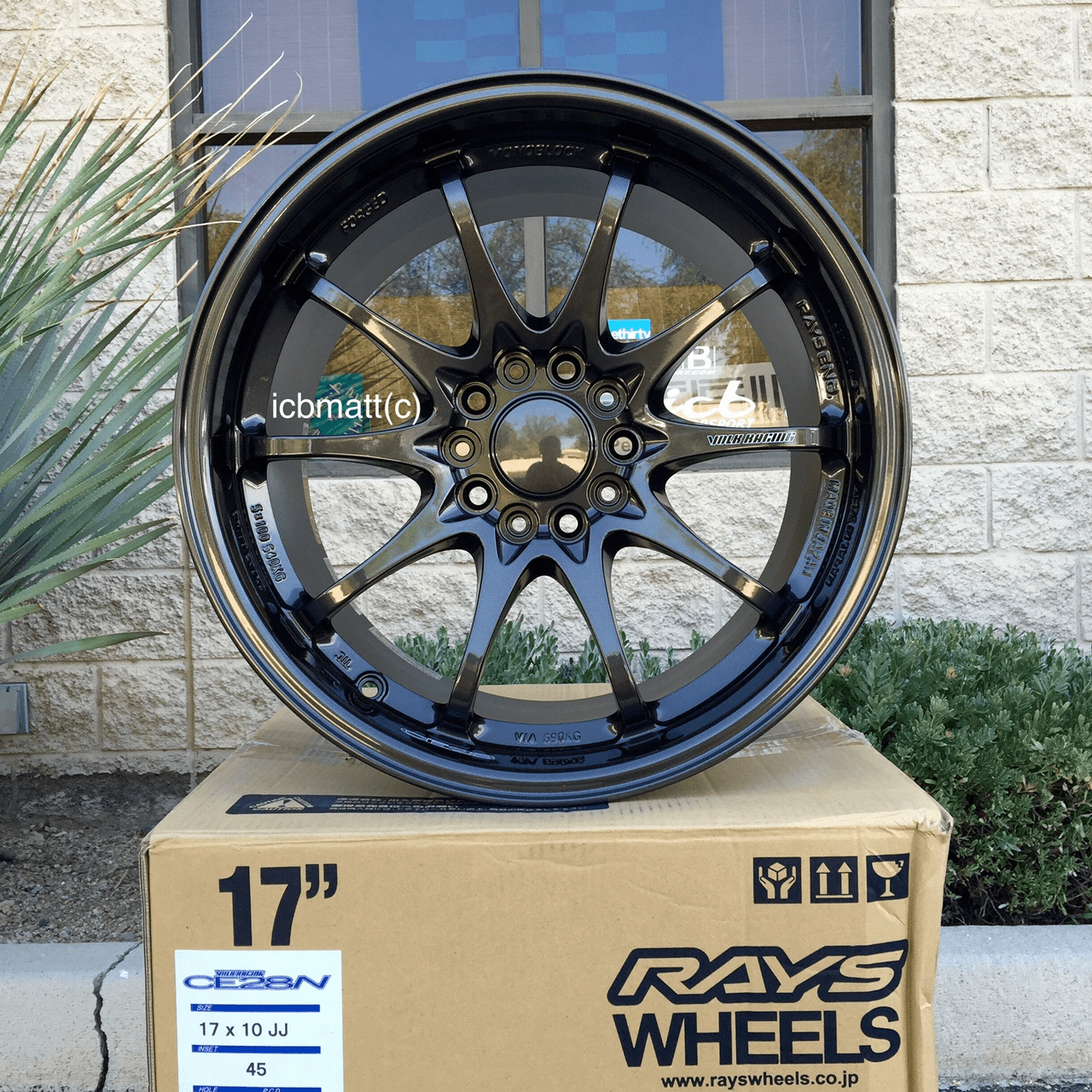Rays Volk Racing CE28N Diamond Black Wheels Set 5X114.3 17X10 +45 Offset Concave Face Sold