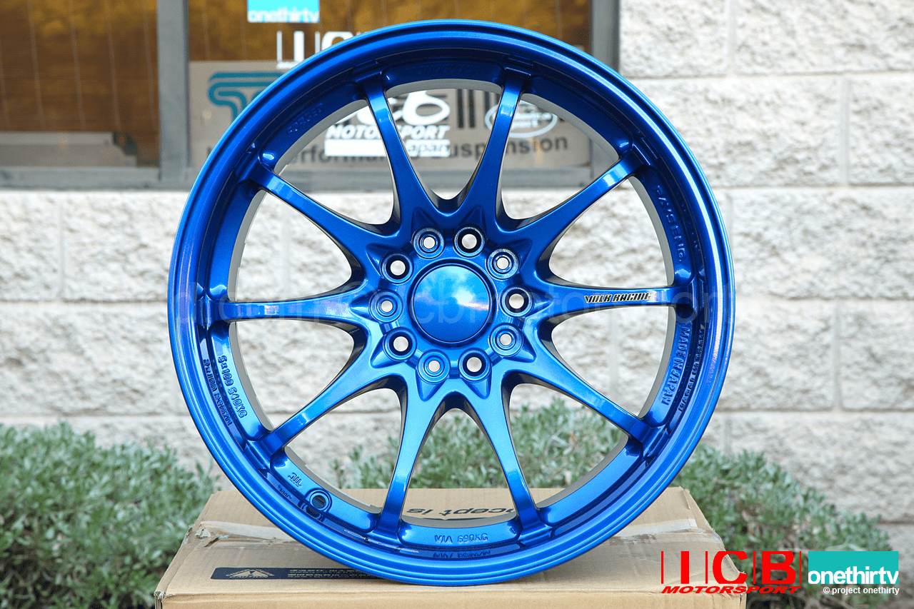 Rays Volk Racing CE28N Hyper Blue Wheels Set 5X114.3 17X10 +50 Offset Concave Face BBK