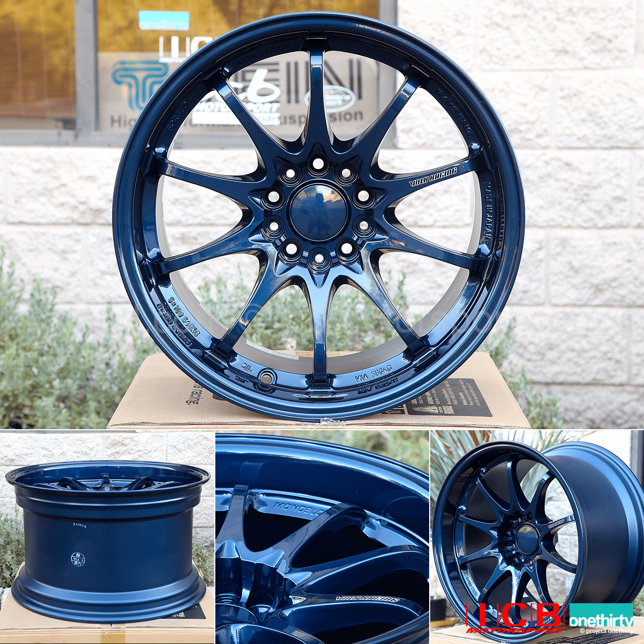 Rays Volk Racing CE28N Mag Blue Wheels Set 5X114.3 17X10 +22 Offset Concave Face