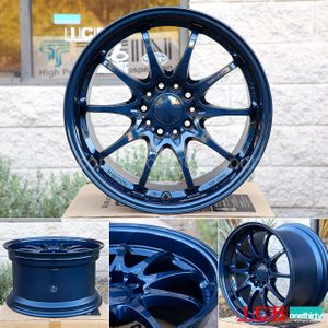 Rays Volk Racing CE28N Mag Blue Wheels Set 5X114.3 17X10 +50 Offset Concave Face BBK
