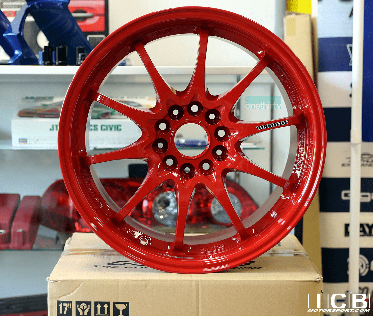 Rays Volk Racing CE28N Red Wheels Set 5X114.3 17X10 +50 Offset Concave Face BBK
