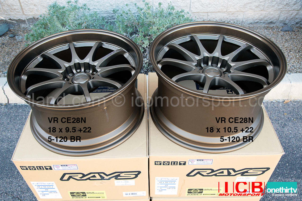 Rays Volk Racing CE28N Wheels 18X9.5 18X10.5 5X120 +22 Offset Concave Face BRONZE BMW M3 E46/92