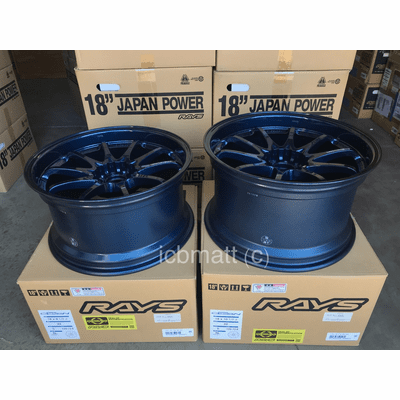 Rays Volk Racing CE28N Wheels 18X9.5 18X10.5 5X120 +22 Offset Concave Face Mag Blue BMW M3 E46 E92