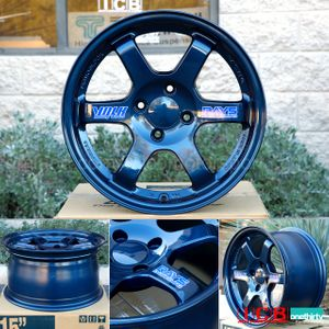 Rays Volk Racing TE37 Wheels 15X8 4X100 +35 Offset Mag Blue