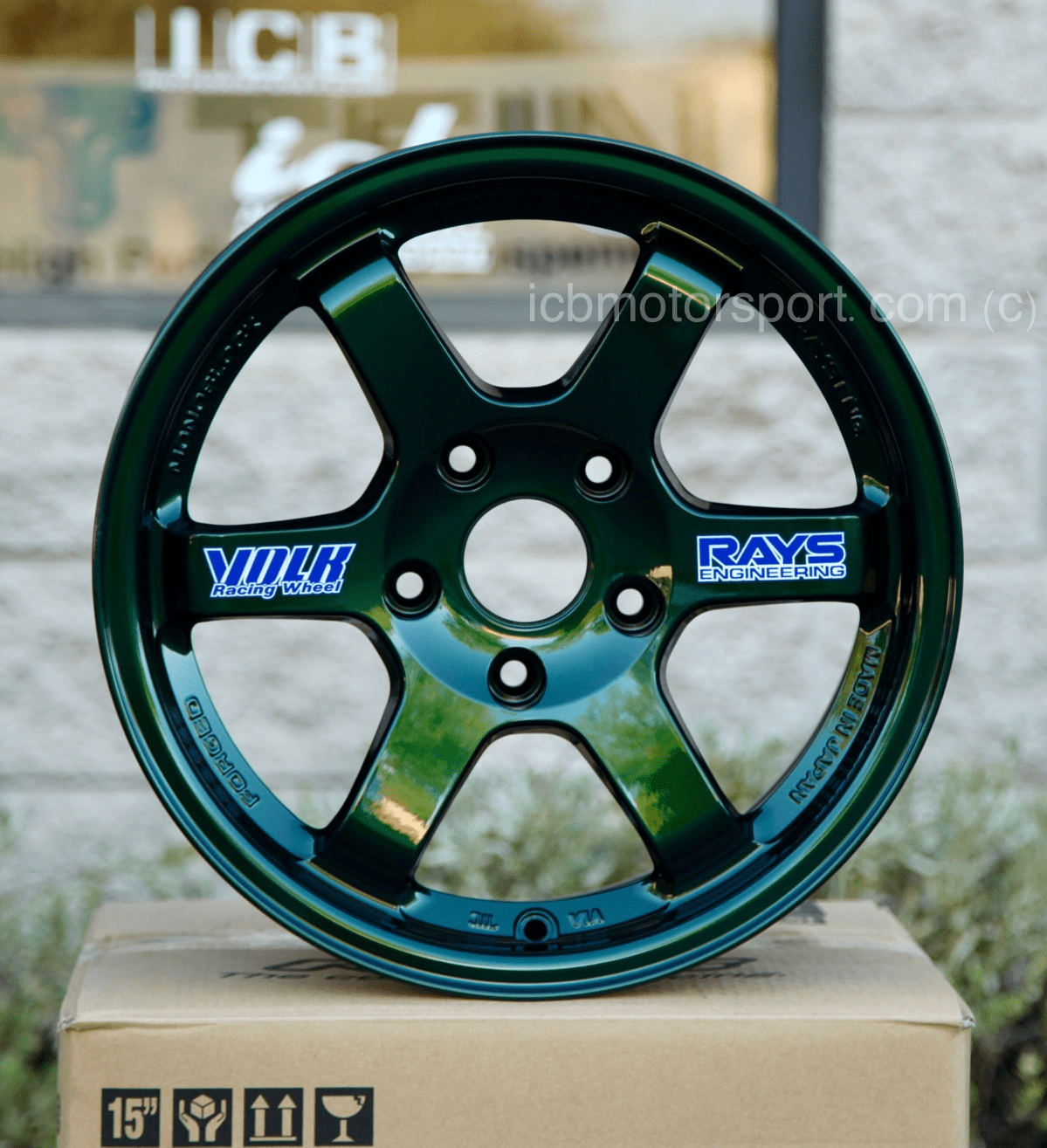 Rays Volk Racing TE37 Wheels 15X8 5X114.3 +32 Offset Racing Green