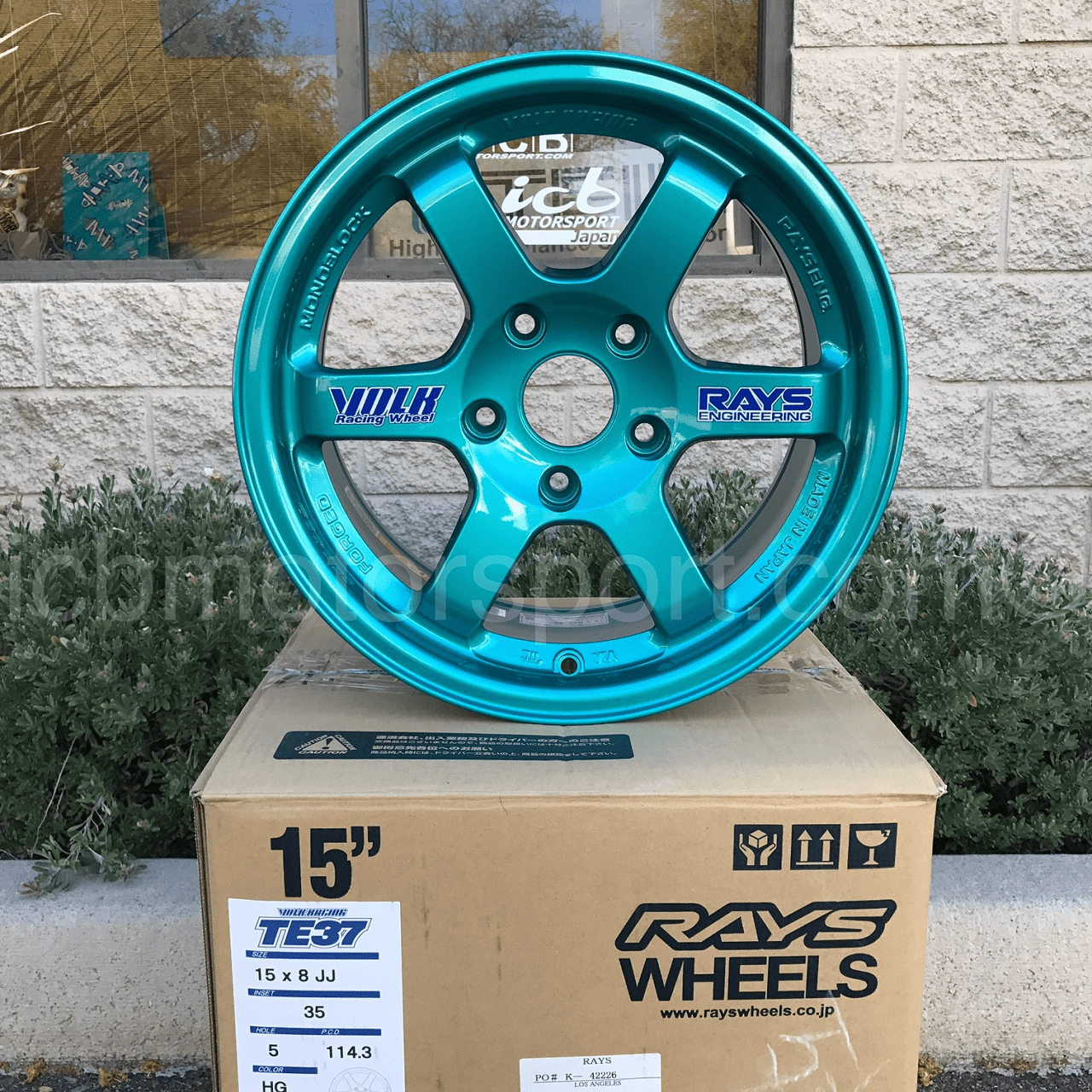 Rays Volk Racing TE37 Wheels 15X8 5x114.3 +35 Offset Hyper Green