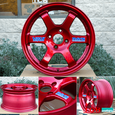 Rays Volk Racing TE37 Wheels 15X8 5X114.3 +35 Offset Hyper Red