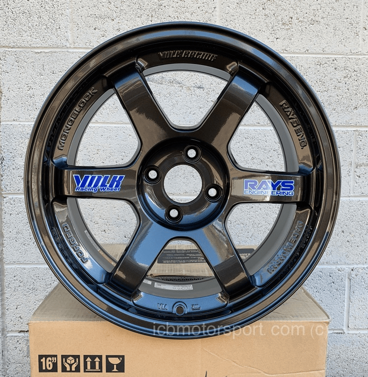 Rays Volk Racing TE37 Wheels 16X8 4X100 +25 Offset Diamond Black Concave Face Sold