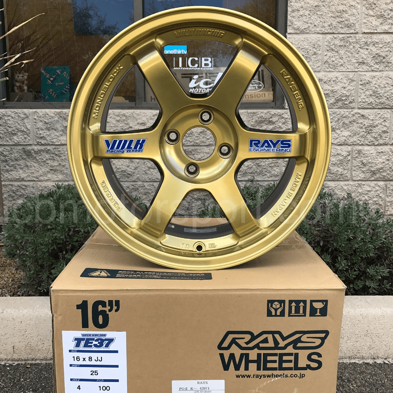 Rays Volk Racing TE37 Wheels 16X8 4X100 +25 Offset Hyper Gold Concave Face Sold