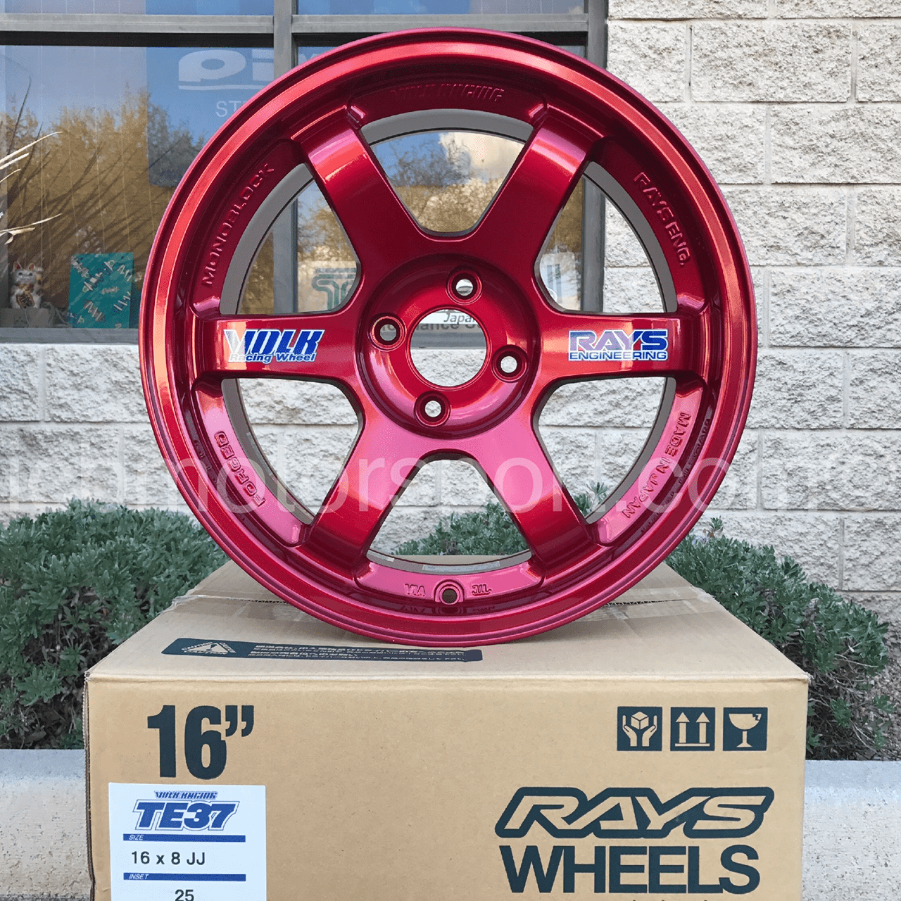 Rays Volk Racing TE37 Wheels 16X8 4X100 +25 Offset Hyper Red Concave Face