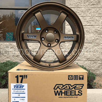 Rays Volk Racing TE37 Wheels 17X9.5 5X114.3 +12 Offset Concave Face Bronze