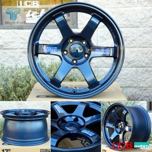 Rays Volk Racing TE37 Wheels 17X9 5X114.3 +34 Offset Concave Face Mag Blue