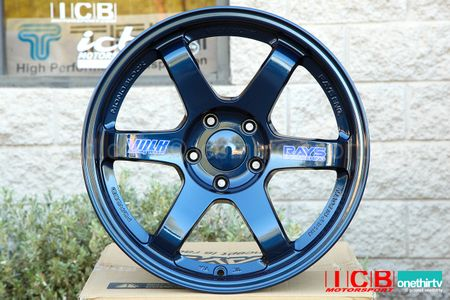 Rays Volk Racing TE37 Wheels 18X10 5X120 +41 Offset Concave Face Mag Blue Civic FK8 CTR