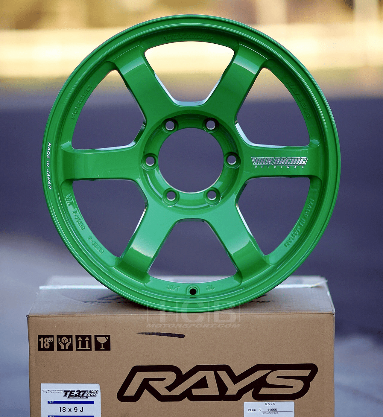 Rays Volk Racing TE37 Wheels 18X9 6X139.7 0 Offset Takata Green Large P.C.D. Progressive Model