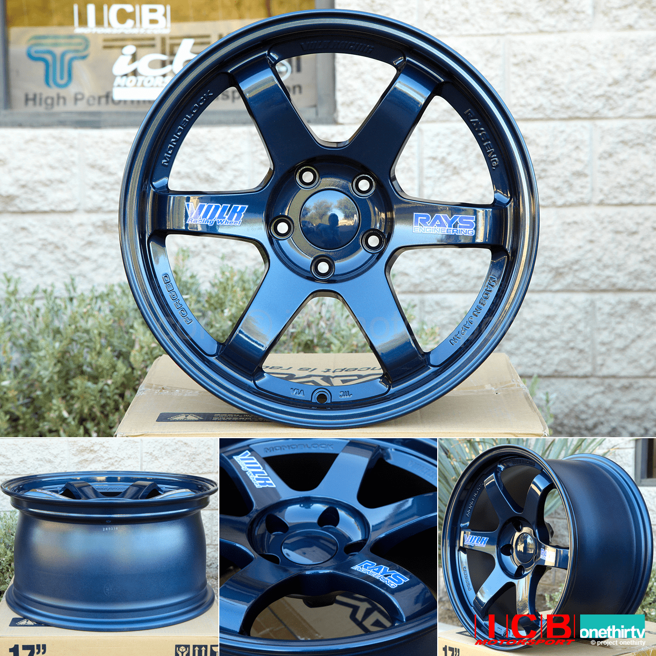 Rays Volk Racing TE37OG Mag Blue Wheels Set 5X114.3 17X9 +34 Offset 18X10.5 +45 Double Concave