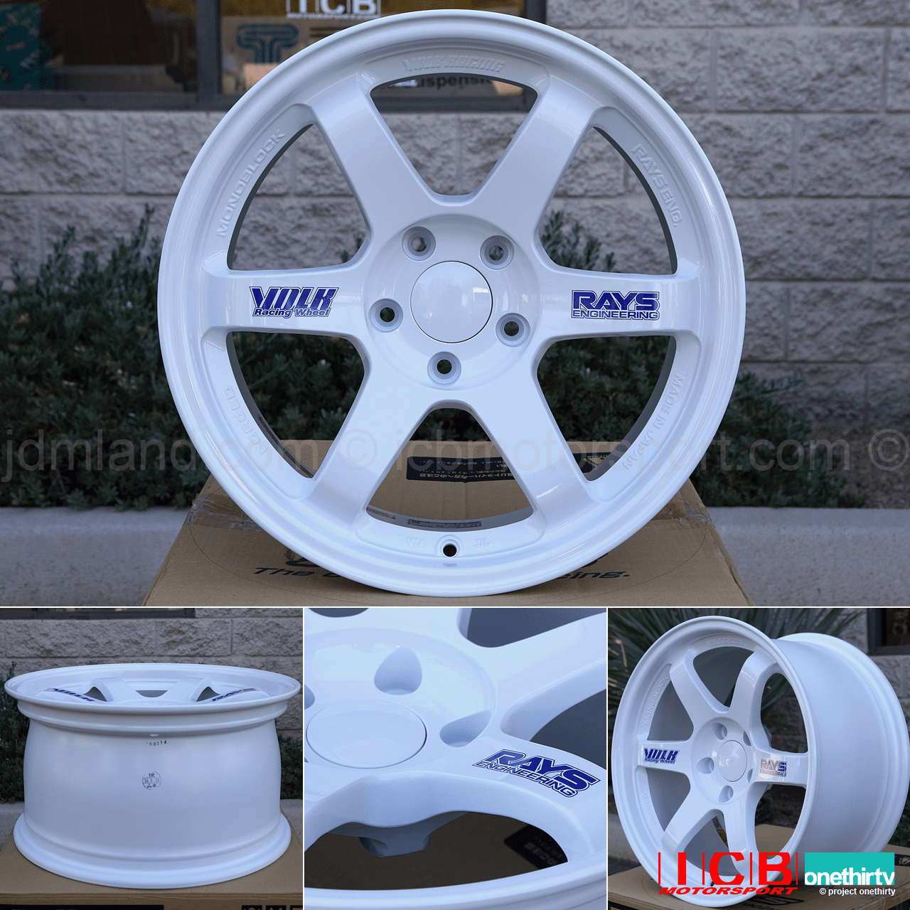 Rays Volk Racing TE37OG Racing White Wheels Set 5X114.3 17X9 +34 Offset 18X10.5 +45 Double Concave
