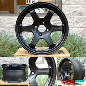 Rays Volk Racing TE37RT Wheels 15X8 4X100 +35 Offset Pressed Black