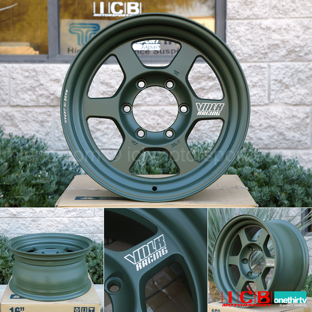Rays Volk Racing TE37X Progressive Model Wheels 16X8 6X139.7 0 Offset Matte Dark Green Large P.C.D.