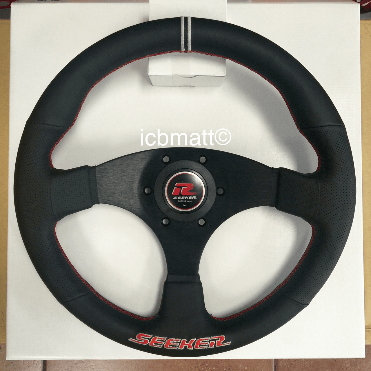 Seeker Steering Wheel Black Red Stitch 325mm