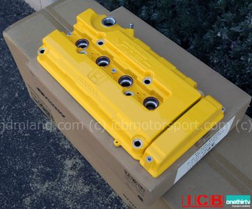 Spoon Sports B-Series DOHC VTEC Yellow Valve Cover Version 2